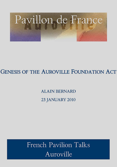 Genesis of The Auroville Foundation Act