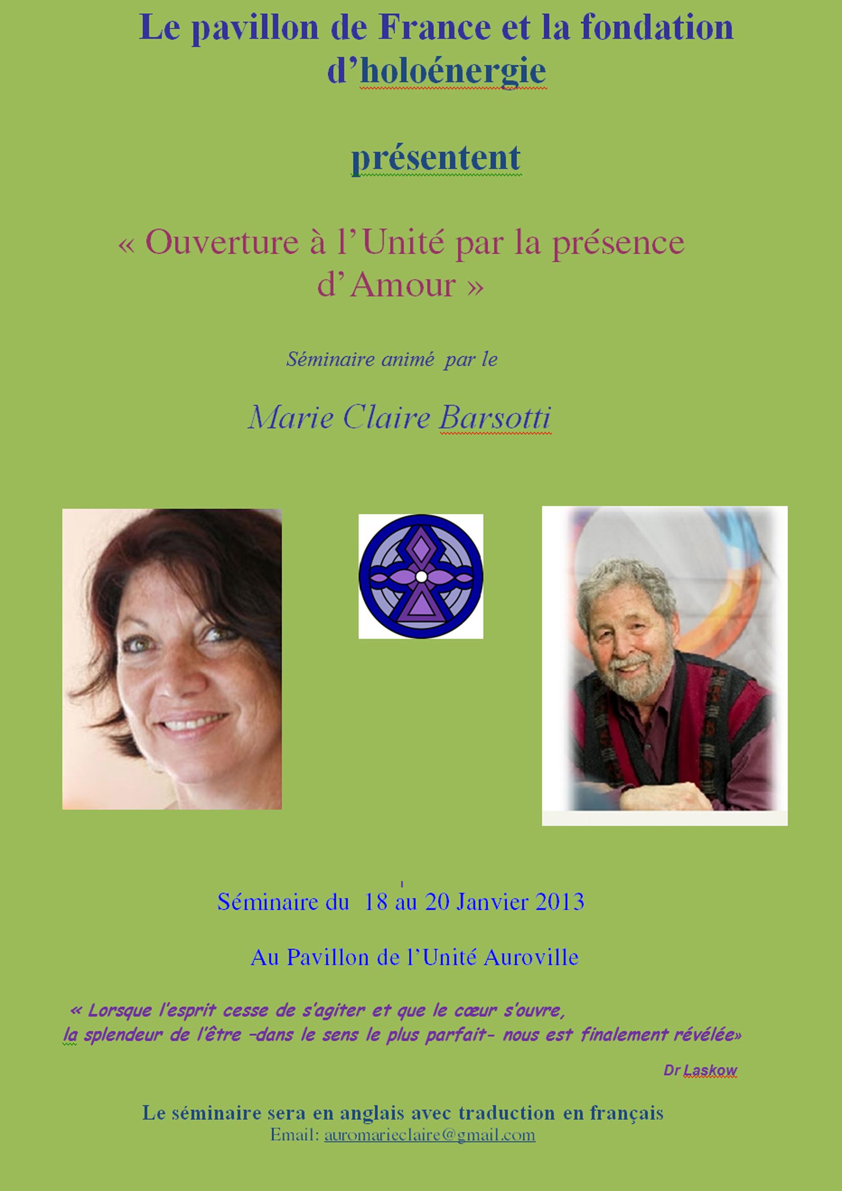 Ouverture à l'Unité par la présence d'Amour